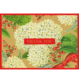 Caspari Christmas Thank You Note Cards 8pk Snowball Hydrangeas
