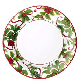 Caspari Paper Salad-Dessert Plates 8pk Round Christmas Trimmings