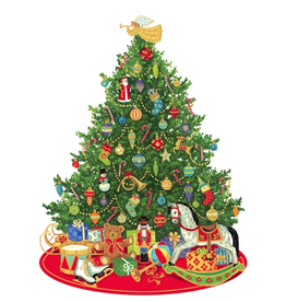 Caspari Ornament Gift Tags 4pk Oh Christmas Tree
