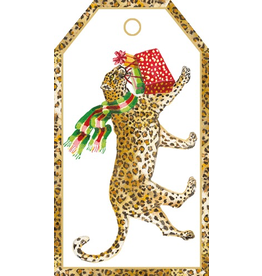 Caspari Hanging Gift Tags 4pk Leopards In Snow