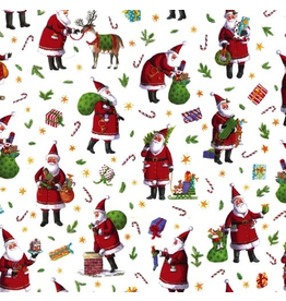 Caspari Christmas Gift Wrapping Paper 8FT Roll Busy Santa