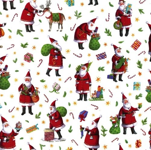 Christmas Gift Wrap Design.Caspari Christmas Gift Wrapping Paper 8ft Roll Busy Santa