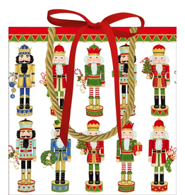Caspari Chirstmas Gift Bag Small 5.75 Sq Inch Nutcracker Parade