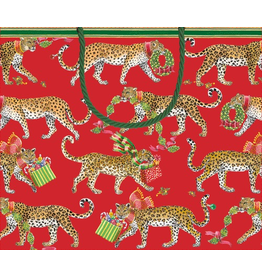 Caspari Christmas Gift Bag Large 11.75x4.75x10 inch Christmas Leopards