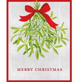Caspari Boxed Christmas Cards Set of 16 Mistletoe Christmas Card