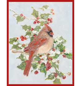 Caspari Boxed Christmas Cards Set of 16 Red Cardinal and Holly Cards