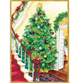 Caspari Boxed Christmas Cards Set of 16 Tree And Staircase Cards