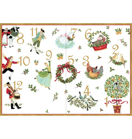 Caspari Boxed Christmas Cards Set of 16 Twelve Days Of Christmas