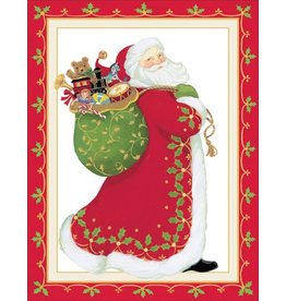 Caspari Boxed Christmas Cards 10pk Santa Embossed Cards