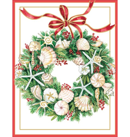 Caspari Boxed Coastal Christmas Cards 10pk Shell Wreath Embossed Cards