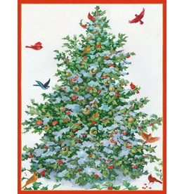 Caspari Boxed Christmas Cards 16pk Songbird Tree Cards