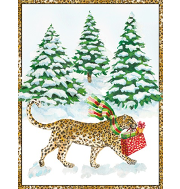 Caspari Boxed Christmas Cards 16pk Leopard In Snow Cards