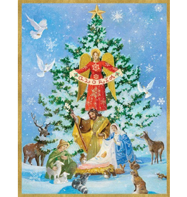Caspari Boxed Christmas Cards 16pk Nativity And Tree Cards