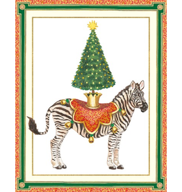 Caspari Boxed Christmas Cards Set of 16 Holiday Zebra Christmas Tree