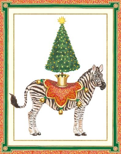Boxed Christmas Cards.Caspari Boxed Christmas Cards Set Of 16 Holiday Zebra Christmas Tree