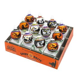 Christopher Radko Shiny Brite Halloween Ornaments Flocked Ombre Rounds 12pc