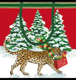 Caspari Christmas Gift Bag Small 5.75 SQ Inch Christmas Leopards