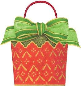 Caspari Christmas Gift Bag 8x7x6.5 inch Cachepot And Ribbon