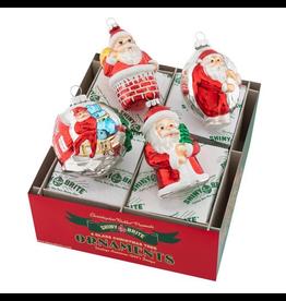 Christopher Radko Shiny Brite Holiday Splendor Ornaments Santa Figures 3.25 Inch