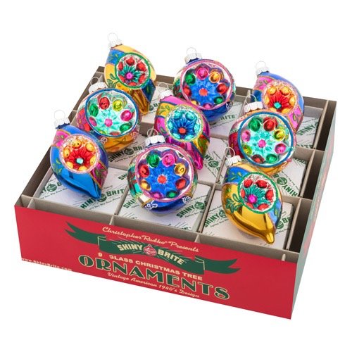 Christopher Radko Shiny Brite Christmas Confetti 9 Ct 2.5 inch Decorated Reflector Rounds N Tulips