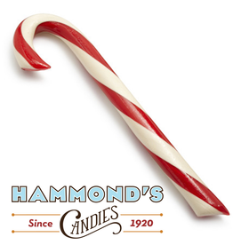 Hammonds Candies Peppermint Candy Cane Lg Big 1.75oz 8 Inch