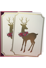PAPYRUS® Boxed Christmas Cards Sonata Reindeer w Wreath 14pk