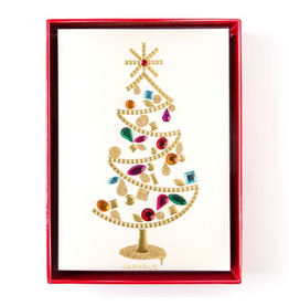 PAPYRUS® Boxed Christmas Cards Glamorous Gem Tree 8pk