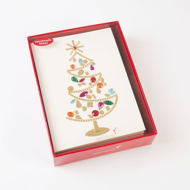 Papyrus Christmas Cards.Papyrus Boxed Christmas Cards Glamorous Gem Tree 8pk