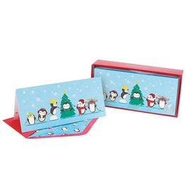 PAPYRUS® Boxed Christmas Cards 16ct Playful Penguins Lighting Tree