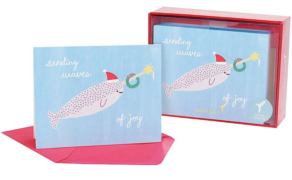 PAPYRUS® Boxed Christmas Cards 20 CT Narwhal Sending Waves Of Joy