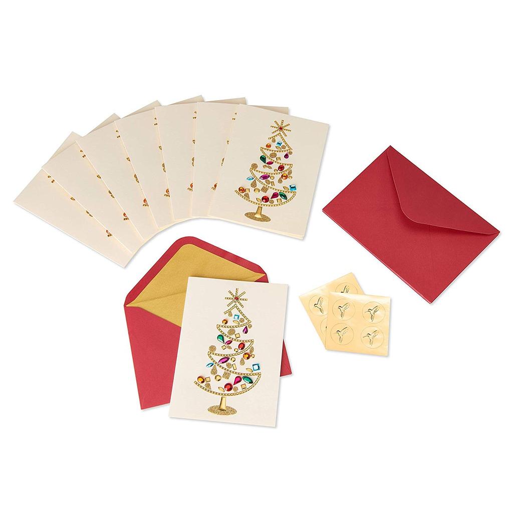 PAPYRUS® Boxed Christmas Cards Glamorous Gem Tree 8pk