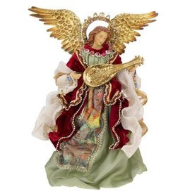 Mark Roberts Christmas Decorations Classic Standing Angel With Guitar-Lute Instrument 14 Inch