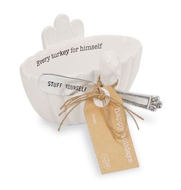 Mud Pie Turkey Dip Bowl W Spreader Set Every Turkey For Himself