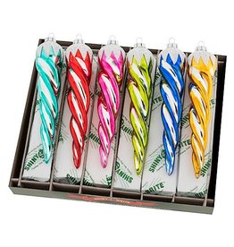 Christopher Radko Shiny Brite Christmas Confetti Icicles Candy Colors 6 Inch