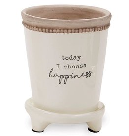 Mud Pie Footed Positive Pots w Today I Choose Happiness