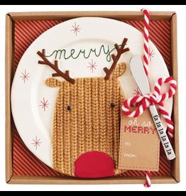 Mud Pie Christmas Cheese Plate W Spreader Set - Reindeer Plate