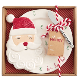 Mud Pie Christmas Cheese Plate W Spreader Set - Santa Plate