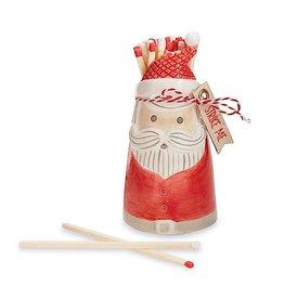 Mud Pie Christmas Matches Gift Set Ceramic Santa W Matchsticks