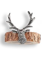 Mud Pie Deer Napkin Rings Wood Bark W Silverplate Metal Deer Set of 4