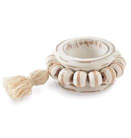 Mud Pie Beaded Wood Tassel Napkin Ring