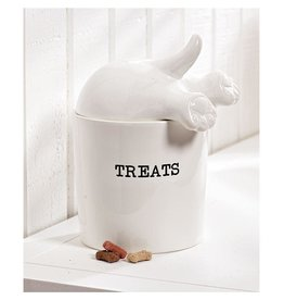 Mud Pie Dog Tail Treat Canister Molded Ceramic Jar With Lid