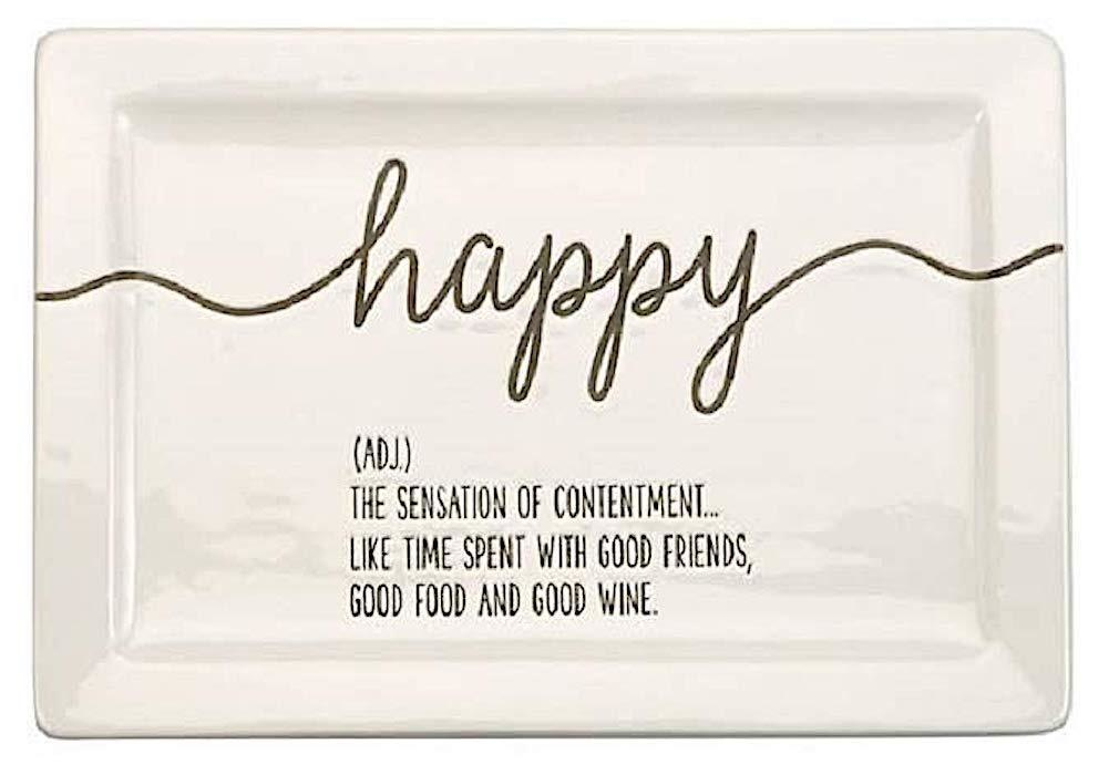 Mud Pie Ceramic Happy Definition Plate Gift Boxed 10.5x7.25 inch