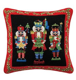 Peking Handicraft Christmas Pillow Nutcracker Pageantry Needlepoint 16x16