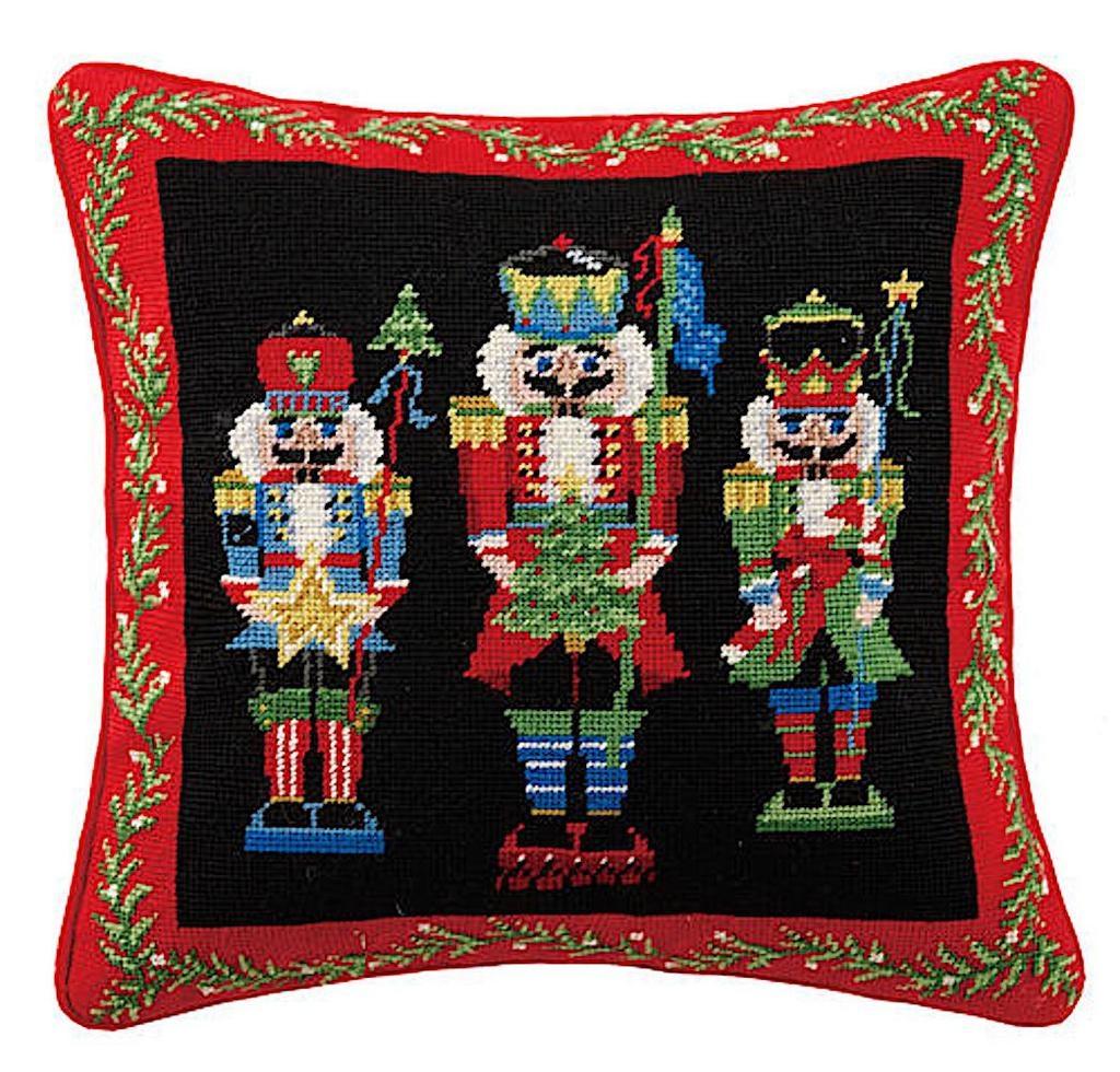 Peking Handicraft Christmas Pillow Nutcracker Pageantry Needlepoint 16x16