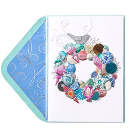 PAPYRUS® Christmas Card Ornaments Baubles And Bird Wreath