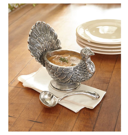 Mud Pie Metal Turkey Gravy Boat With Ladel Set