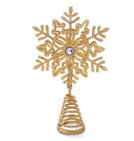 Kurt Adler Glittered Snowflake Christmas Tree Topper 5 Inch GOLD