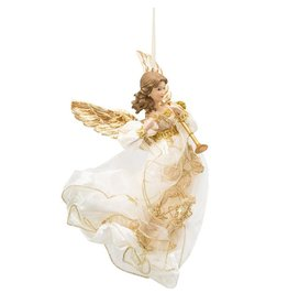 Kurt Adler Ivory And Gold Flying Angel Christmas Ornament 12 Inch