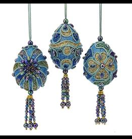 Kurt Adler Mini Peacock Egg Ornaments 3 inch Glitter w Beads Set of 3