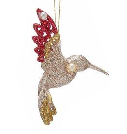 Kurt Adler Hummingbird Ornament Red Ruby And Platinum Glittered -D